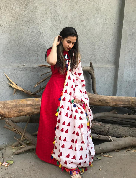 RED STREET CHIC WITH DUPATTA