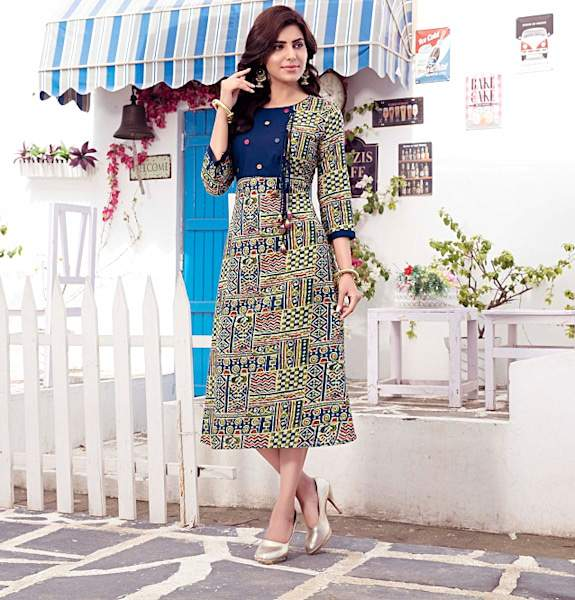 Multicolor Printed Cotton Designer Dress