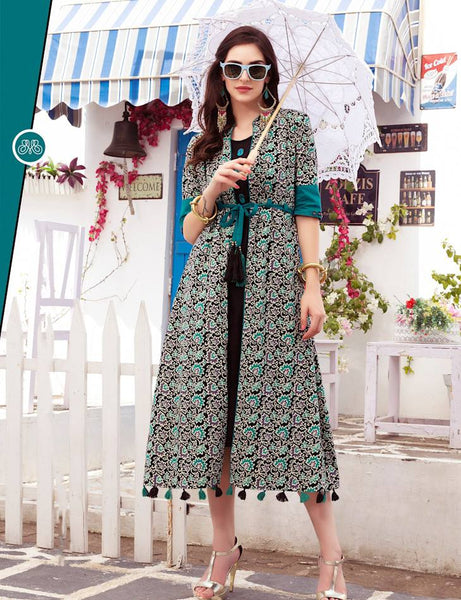 Turquoise Printed Cotton Designer Dress