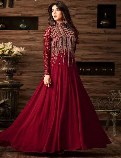 Sizzling Red Designer Embroidered Semi-Stitched Gown