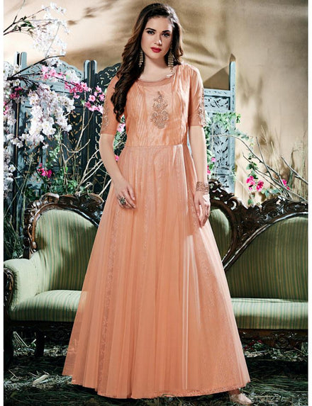 Glamour Peach Net Embroidered Stitched Gown