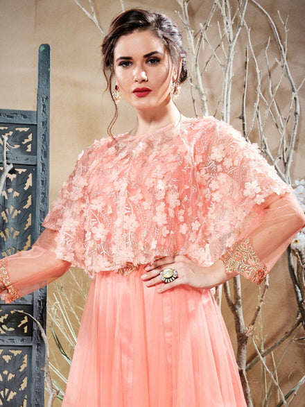 Peach Net Party wear Anarkali Stitched Gown