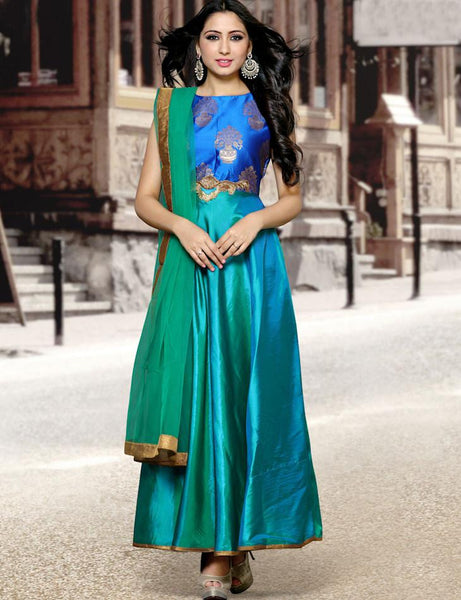 Paper Silk Straight & Chudidar Suit in Blue Color Semi-Stitched Gown