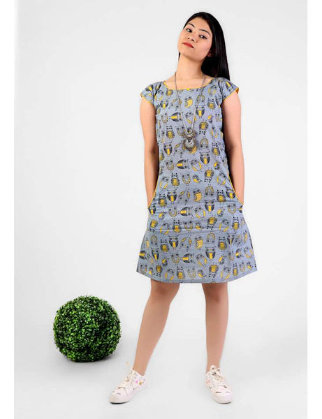 Grey Owl print pocket short dress