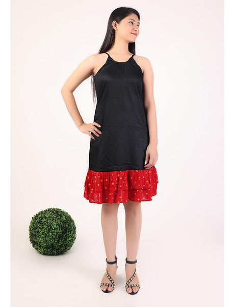 Black short dress with red bandhani frills