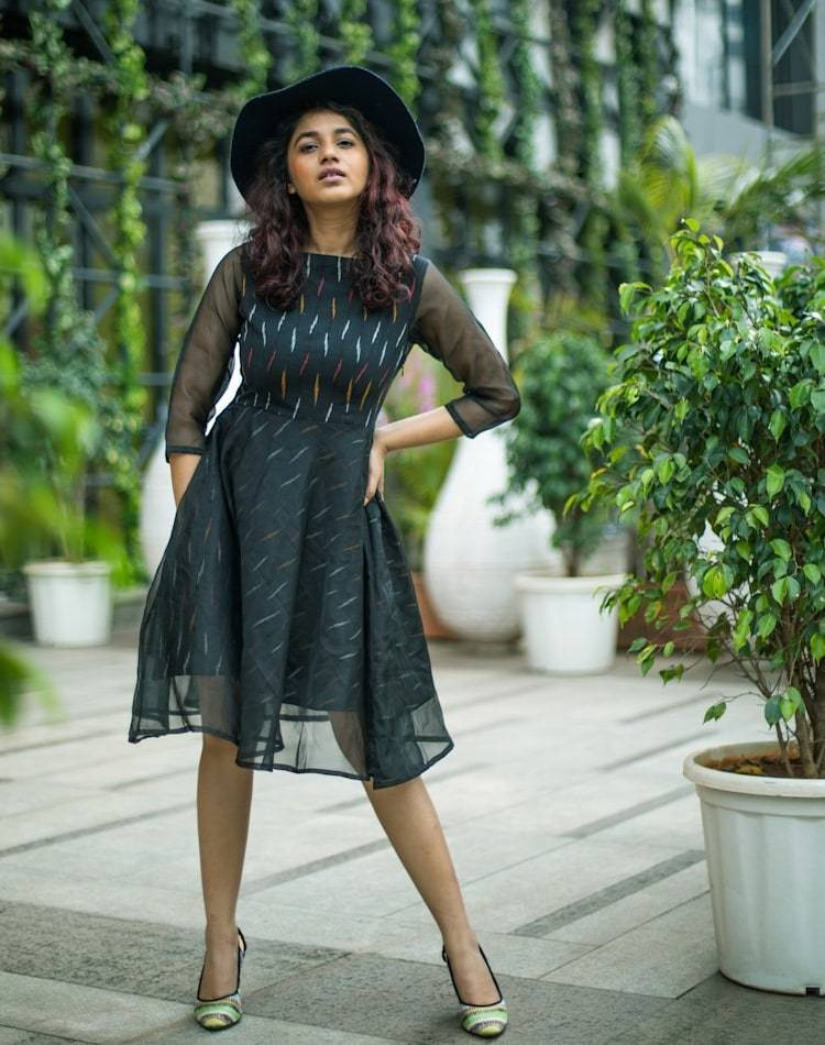 Organza Flare Black Dress