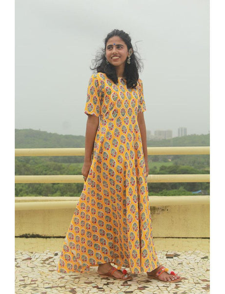 Yellow block print gown