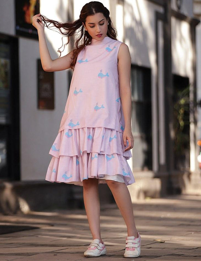 Lavender whale Printed Tiered Dress