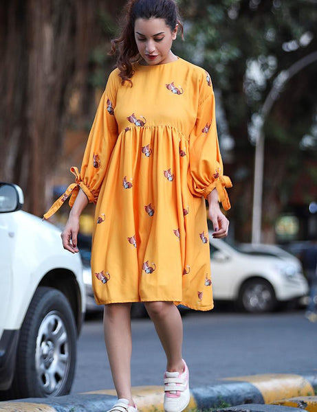 Yellow ochre Bishop Sleeves Dress