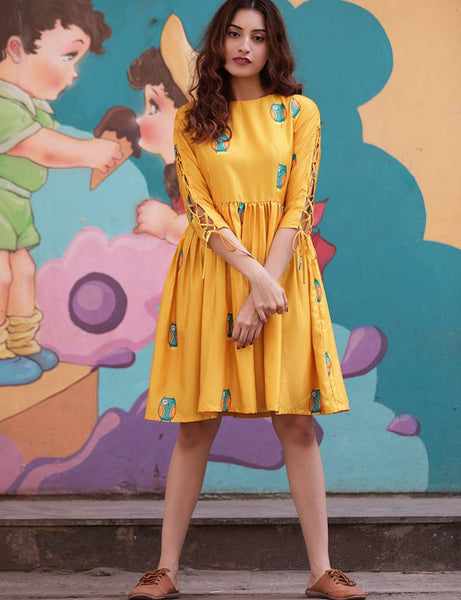 Yellow Owl Printed Dress