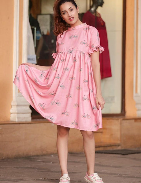Pink Cycle Printed Gathered Dress