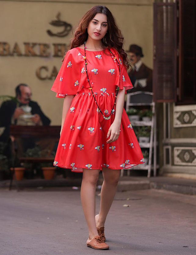 Red Air Balloon Printed Gathered Dress