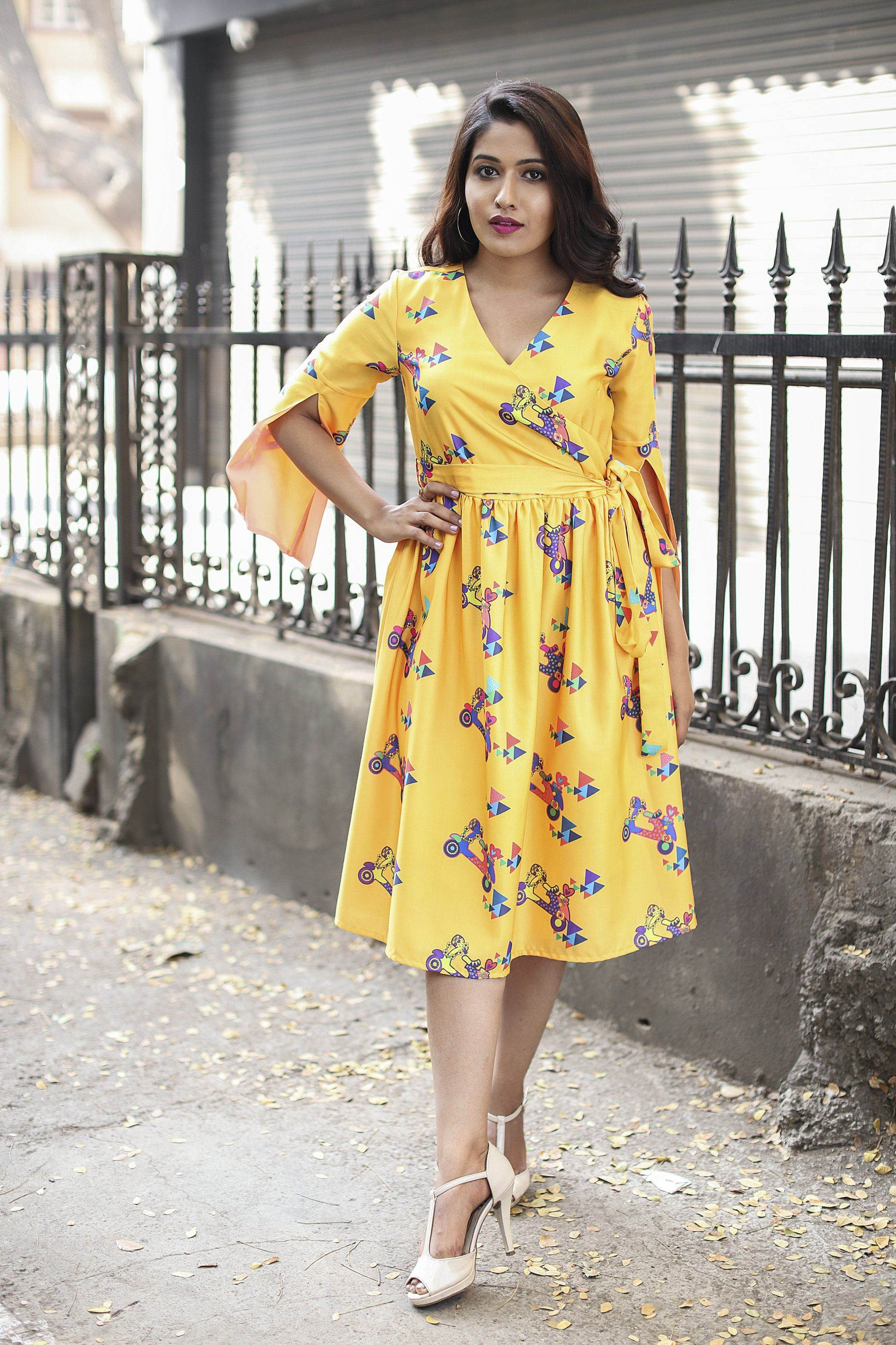 Yellow Scooter Printed Wrap Around Side Tie-up Dress