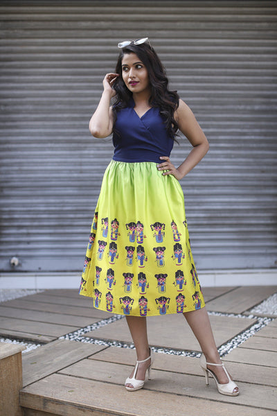 Yellow Blue Doll Print Sleevless Dress