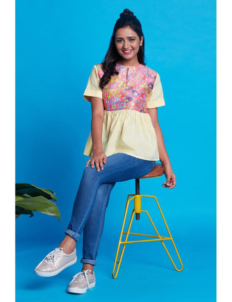 yellow gather top