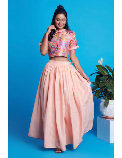 Peach crop top skirt