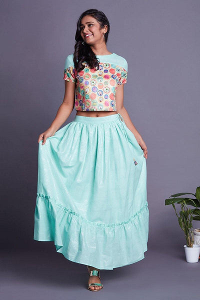 Turquoise crop top skirt