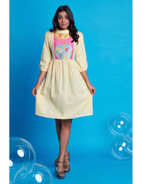 Gather pale yellow dress with bishop sleeve
