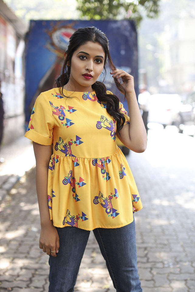 Yellow Scooter Printed Short Sleeve Flare Top