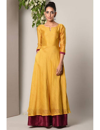 Mustard Yellow Maroon Border Suit Dress