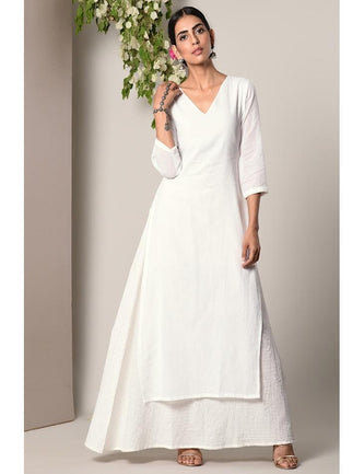 White Kurta White Silver Thread Flare Dress