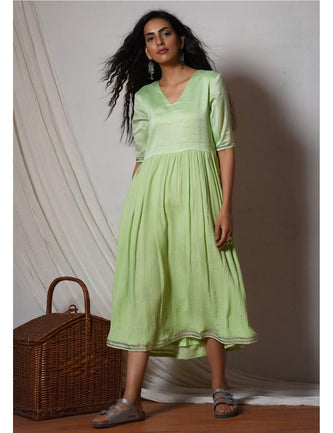 Mint Green Crinkled Flare kurta dress