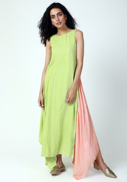 Mint Green Box Asymmetric Dress