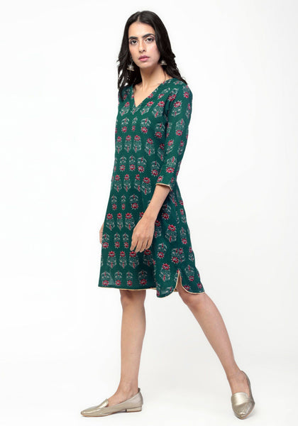 Green Floral Booti Dress