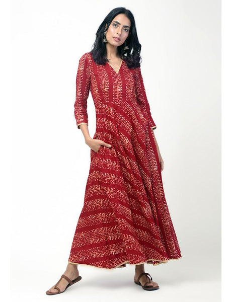 Red Patterned Stripe Gota Dress