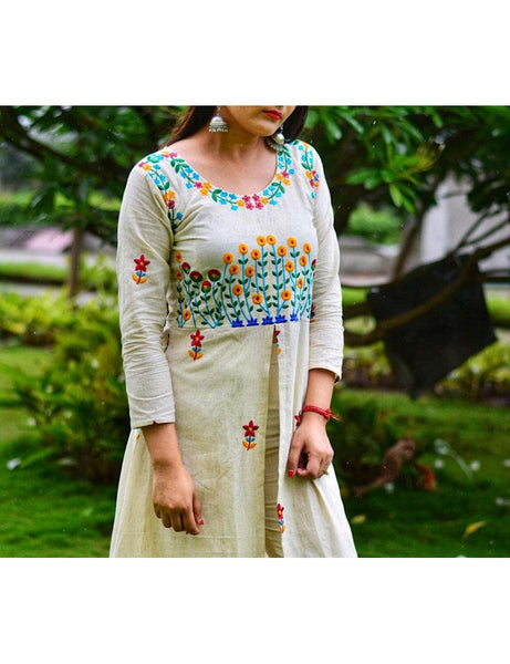 Heavy Embroidary Khadi Dress