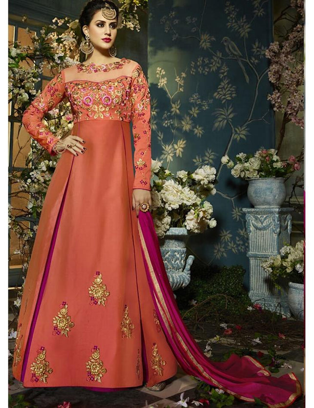 d537226adb Orange Tapheta Silk Embroidered Semi-Stitched Gown ...