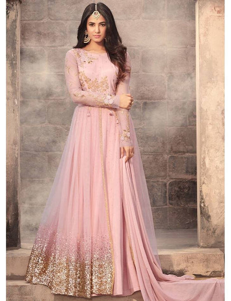 Light Pink Net Embroidered Semi-Stitched Gown