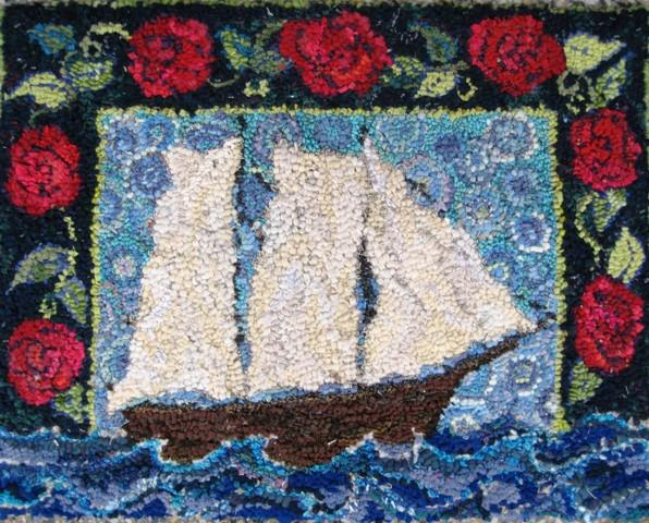 "update alt-text with template A-Schooner and Roses Rug Hooking Pattern 25"" X 32""-vendor-unknown-Rug Hooking Kit -Rug Hooking Pattern -Rug Hooking -Deanne Fitzpatrick Rug Hooking Studio -Is rug hooking the same as punch needle?"