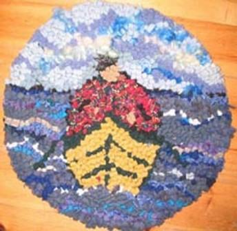 "update alt-text with template Dory Man Chairpad Pattern 13"" Round-vendor-unknown-Rug Hooking Kit -Rug Hooking Pattern -Rug Hooking -Deanne Fitzpatrick Rug Hooking Studio -Is rug hooking the same as punch needle?"