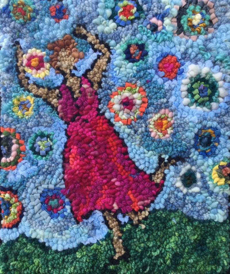 "update alt-text with template Dancing in Blue Skies - Rug Hooking Kit 11"" X 14""-Kits-Deanne Fitzpatrick Rug Hooking Studio-Rug Hooking Kit -Rug Hooking Pattern -Rug Hooking -Deanne Fitzpatrick Rug Hooking Studio -Is rug hooking the same as punch needle?"