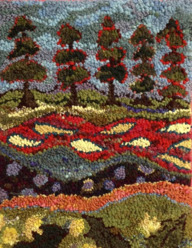 "update alt-text with template Five Trees - Rug Hooking Kit 18"" X 26""-Kits-Deanne Fitzpatrick Rug Hooking Studio-Rug Hooking Kit -Rug Hooking Pattern -Rug Hooking -Deanne Fitzpatrick Rug Hooking Studio -Is rug hooking the same as punch needle?"