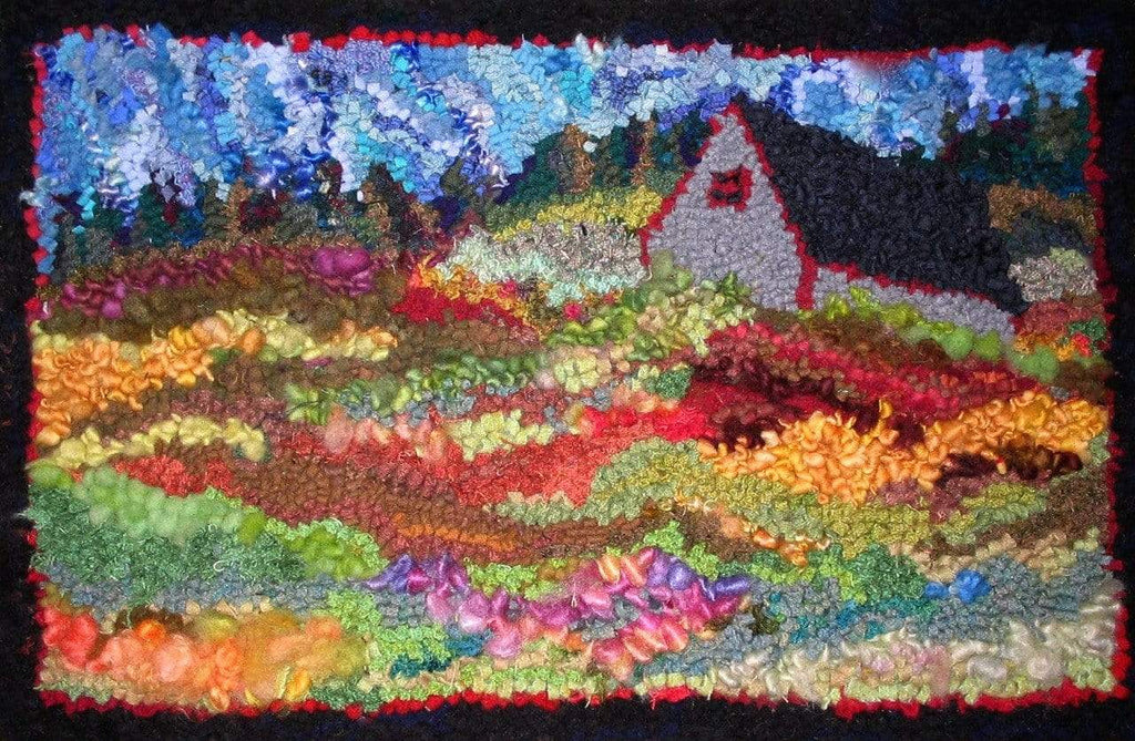 "update alt-text with template Grey Barn in the Field - Rug Hooking Kit 20"" X 30""-Kits-vendor-unknown-Rug Hooking Kit -Rug Hooking Pattern -Rug Hooking -Deanne Fitzpatrick Rug Hooking Studio -Is rug hooking the same as punch needle?"