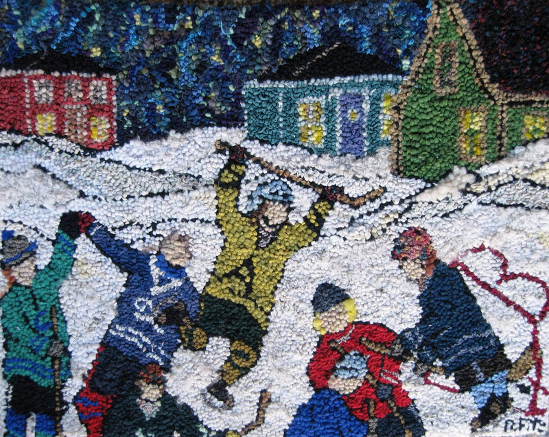 "update alt-text with template Hockey Night in Nova Scotia - Rug Hooking Kit 24"" x 34""-Kits-vendor-unknown-Rug Hooking Kit -Rug Hooking Pattern -Rug Hooking -Deanne Fitzpatrick Rug Hooking Studio -Is rug hooking the same as punch needle?"