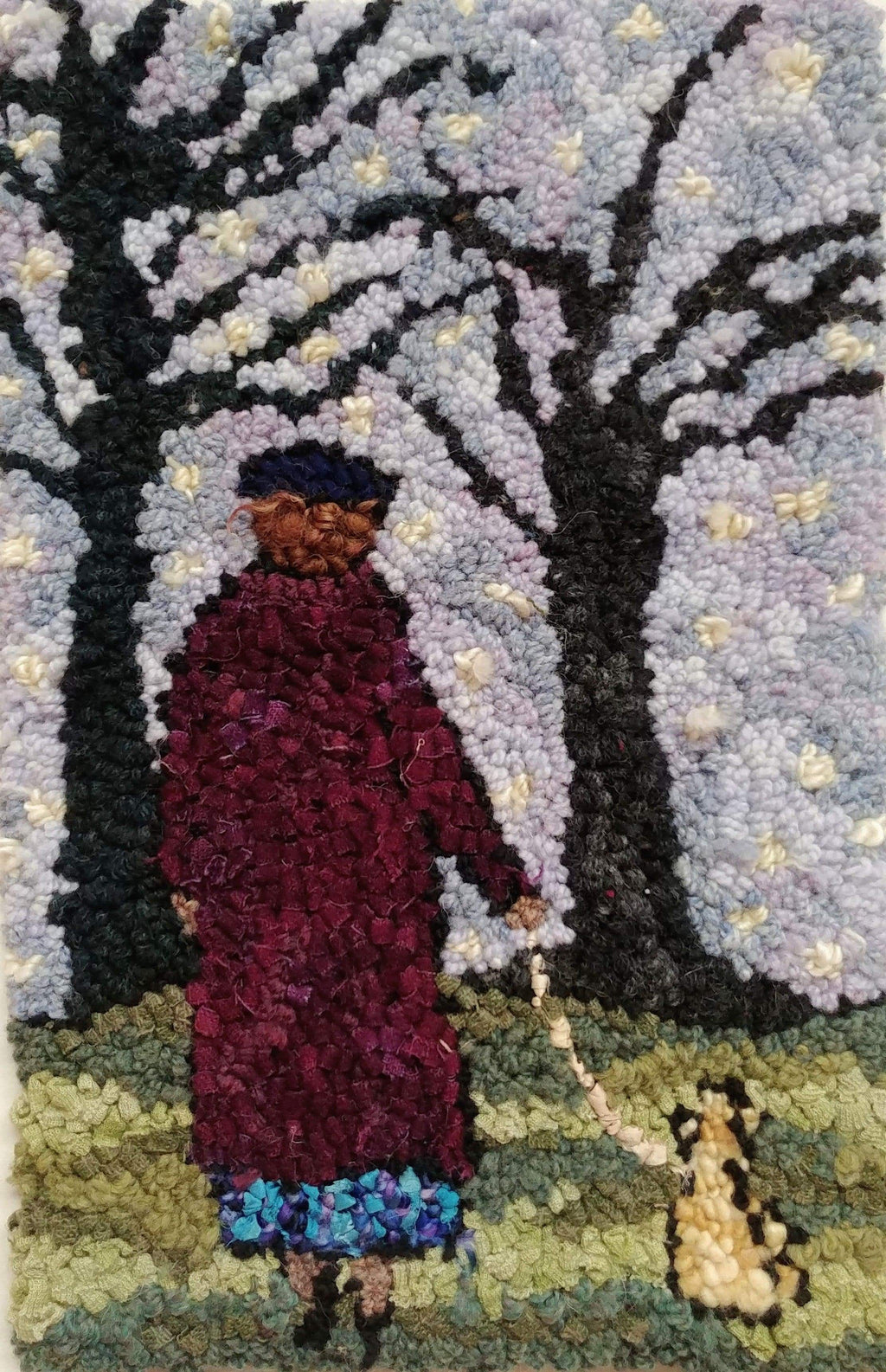 "update alt-text with template Lady and Her Dog - Rug Hooking Kit 11"" x 17""-Kits-Deanne Fitzpatrick Rug Hooking Studio-Rug Hooking Kit -Rug Hooking Pattern -Rug Hooking -Deanne Fitzpatrick Rug Hooking Studio -Is rug hooking the same as punch needle?"
