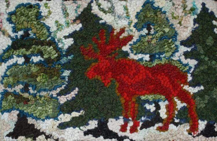 "update alt-text with template Moose in the Wild - Rug Hooking Kit 17"" x 11""-Kits-vendor-unknown-Rug Hooking Kit -Rug Hooking Pattern -Rug Hooking -Deanne Fitzpatrick Rug Hooking Studio -Is rug hooking the same as punch needle?"