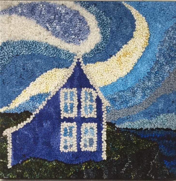 "update alt-text with template Mystery in the Sky - Rug Hooking Kit 15"" x 15""-Kits-vendor-unknown-Rug Hooking Kit -Rug Hooking Pattern -Rug Hooking -Deanne Fitzpatrick Rug Hooking Studio -Is rug hooking the same as punch needle?"