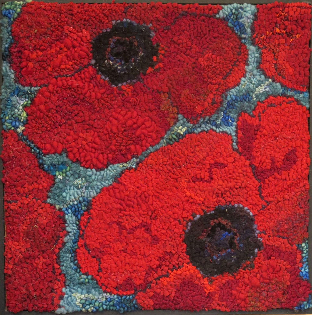 "update alt-text with template Port Greville Poppies - Rug Hooking Kit 20"" x 20""-Kits-vendor-unknown-Rug Hooking Kit -Rug Hooking Pattern -Rug Hooking -Deanne Fitzpatrick Rug Hooking Studio -Is rug hooking the same as punch needle?"