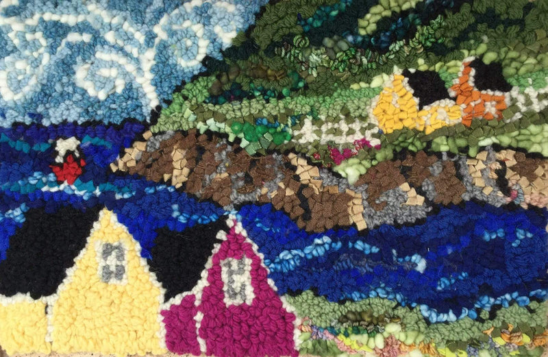 "update alt-text with template Seaside Village - Rug Hooking Kit 17"" x 11""-Kits-Deanne Fitzpatrick Rug Hooking Studio-Rug Hooking Kit -Rug Hooking Pattern -Rug Hooking -Deanne Fitzpatrick Rug Hooking Studio -Is rug hooking the same as punch needle?"