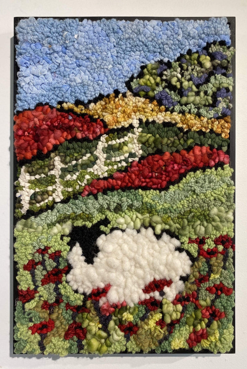 "update alt-text with template Sheep in a Field of Poppies - Rug Hooking Kit 11"" x 17""-Kits-Deanne Fitzpatrick Rug Hooking Studio-Rug Hooking Kit -Rug Hooking Pattern -Rug Hooking -Deanne Fitzpatrick Rug Hooking Studio -Is rug hooking the same as punch needle?"