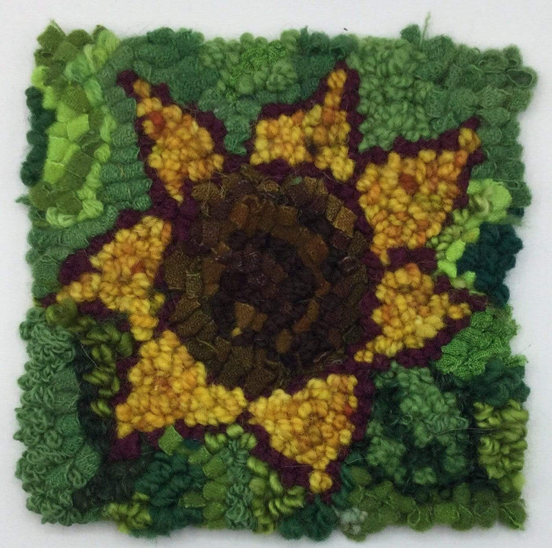 "update alt-text with template Sunflower - Rug Hooking Beginner Kit 6"" x 6""-Kits-vendor-unknown-Rug Hooking Kit -Rug Hooking Pattern -Rug Hooking -Deanne Fitzpatrick Rug Hooking Studio -Is rug hooking the same as punch needle?"