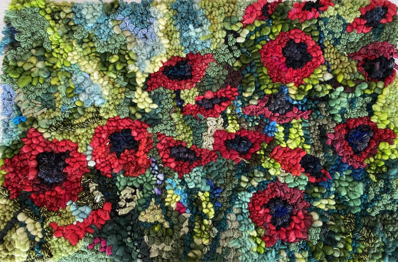 "update alt-text with template Waiting for things to Bloom 11"" X 17"" kit-Kits-vendor-unknown-Rug Hooking Kit -Rug Hooking Pattern -Rug Hooking -Deanne Fitzpatrick Rug Hooking Studio -Is rug hooking the same as punch needle?"