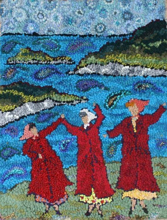 "update alt-text with template Women and the Sea - Rug Hooking Kit 20"" x 24""-Kits-Deanne Fitzpatrick Rug Hooking Studio-Rug Hooking Kit -Rug Hooking Pattern -Rug Hooking -Deanne Fitzpatrick Rug Hooking Studio -Is rug hooking the same as punch needle?"
