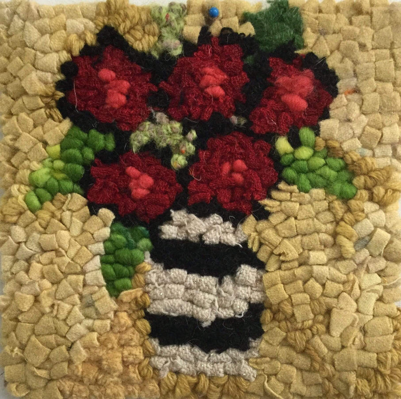 "update alt-text with template Yellow Rosy Posy - Rug Hooking Kit 6"" x 6""-Kits-Deanne Fitzpatrick Rug Hooking Studio-Rug Hooking Kit -Rug Hooking Pattern -Rug Hooking -Deanne Fitzpatrick Rug Hooking Studio -Is rug hooking the same as punch needle?"