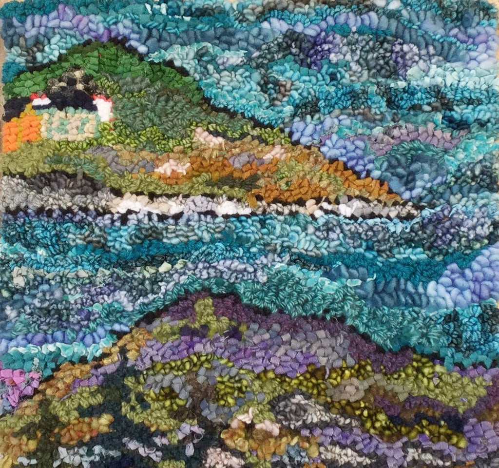 "update alt-text with template 3 From every hill, there is a view Rug 16"" x 16""-Original Rugs-Deanne Fitzpatrick Rug Hooking Studio-Rug Hooking Kit -Rug Hooking Pattern -Rug Hooking -Deanne Fitzpatrick Rug Hooking Studio -Is rug hooking the same as punch needle?"