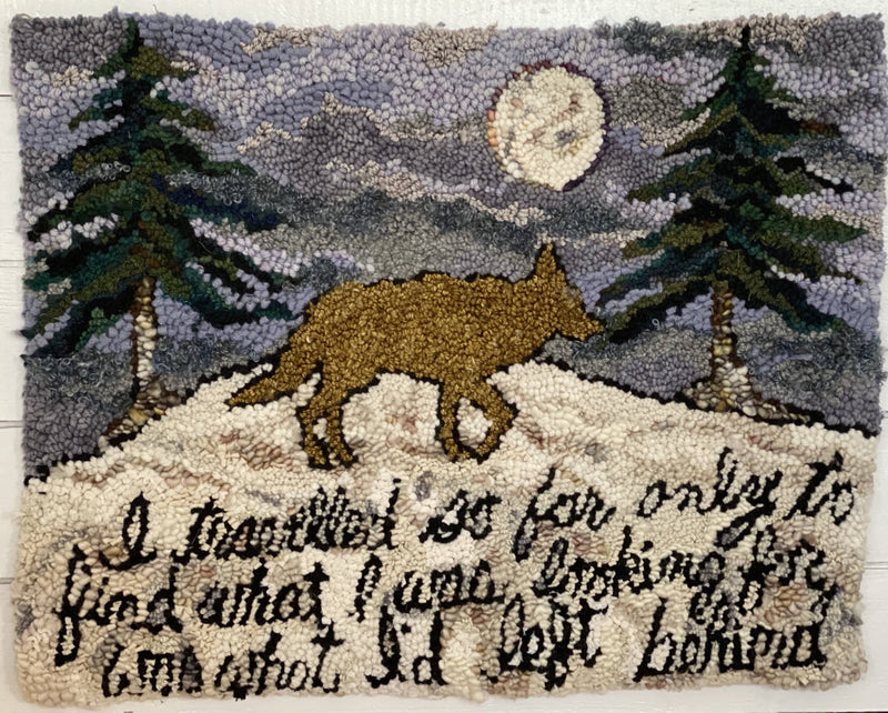 "update alt-text with template Coyote Coming Home 23 by 28""-Original Rugs-Deanne Fitzpatrick Rug Hooking Studio-Rug Hooking Kit -Rug Hooking Pattern -Rug Hooking -Deanne Fitzpatrick Rug Hooking Studio -Is rug hooking the same as punch needle?"